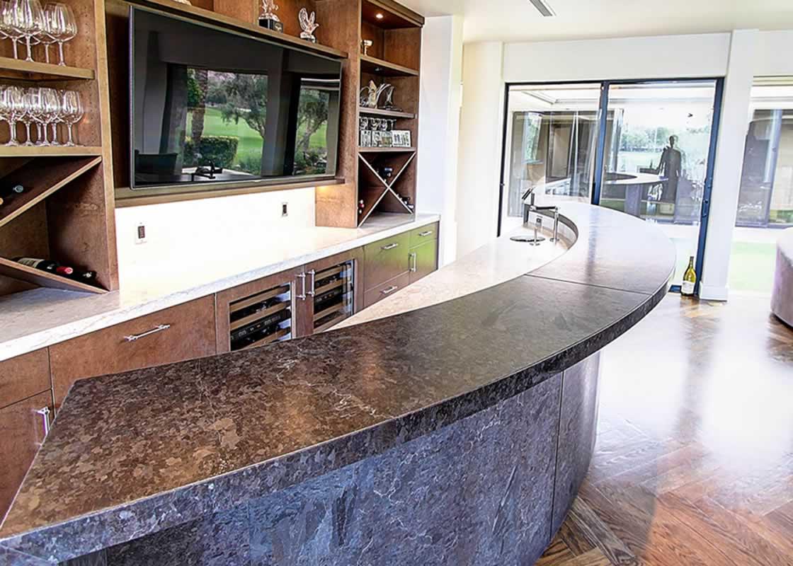 Granite Kitchen Tables Radius Bar-Cambrian Black Granite   MilleStone Marble & Tile