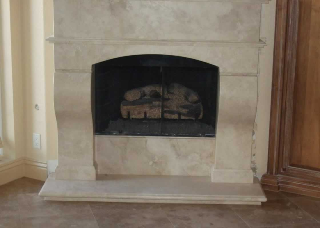 Light Travertine Fireplace MilleStone Marble Tile