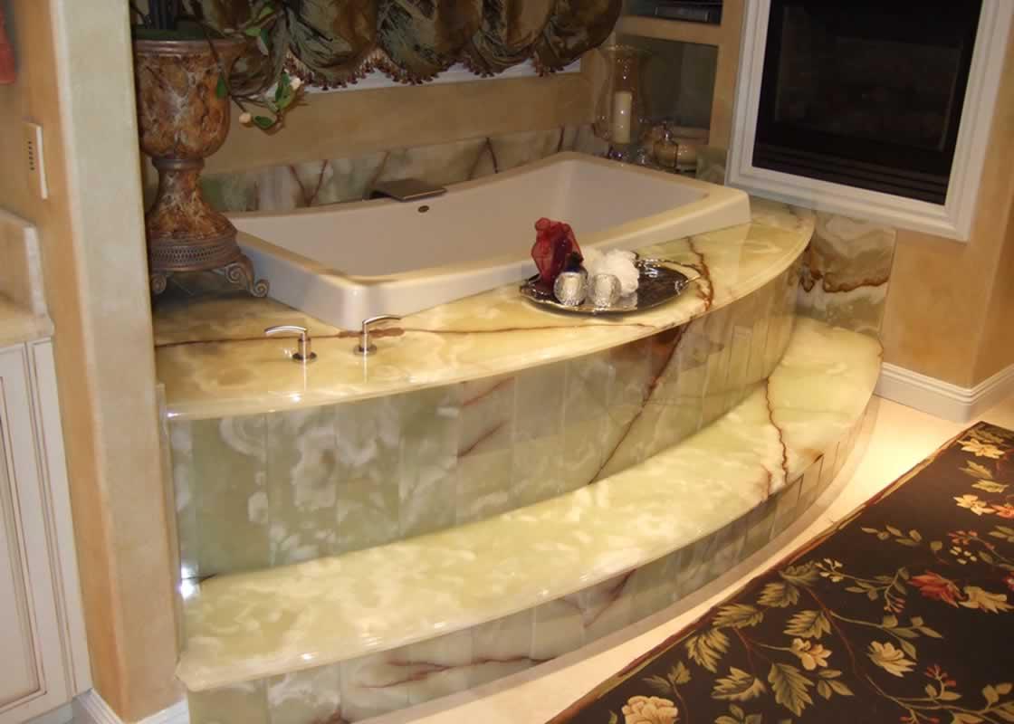 Onyx Shower Over Tub : Onyx marble bathroom millestone tile