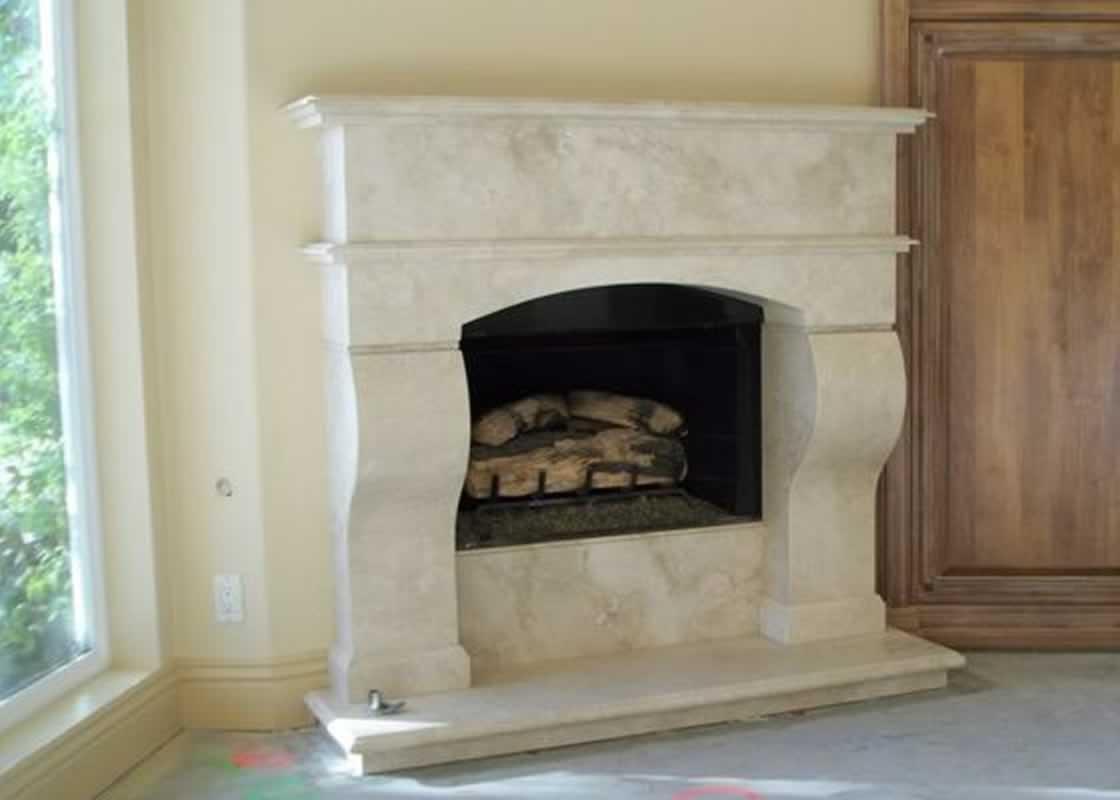 Noce Travertine Fireplace MilleStone Marble Tile