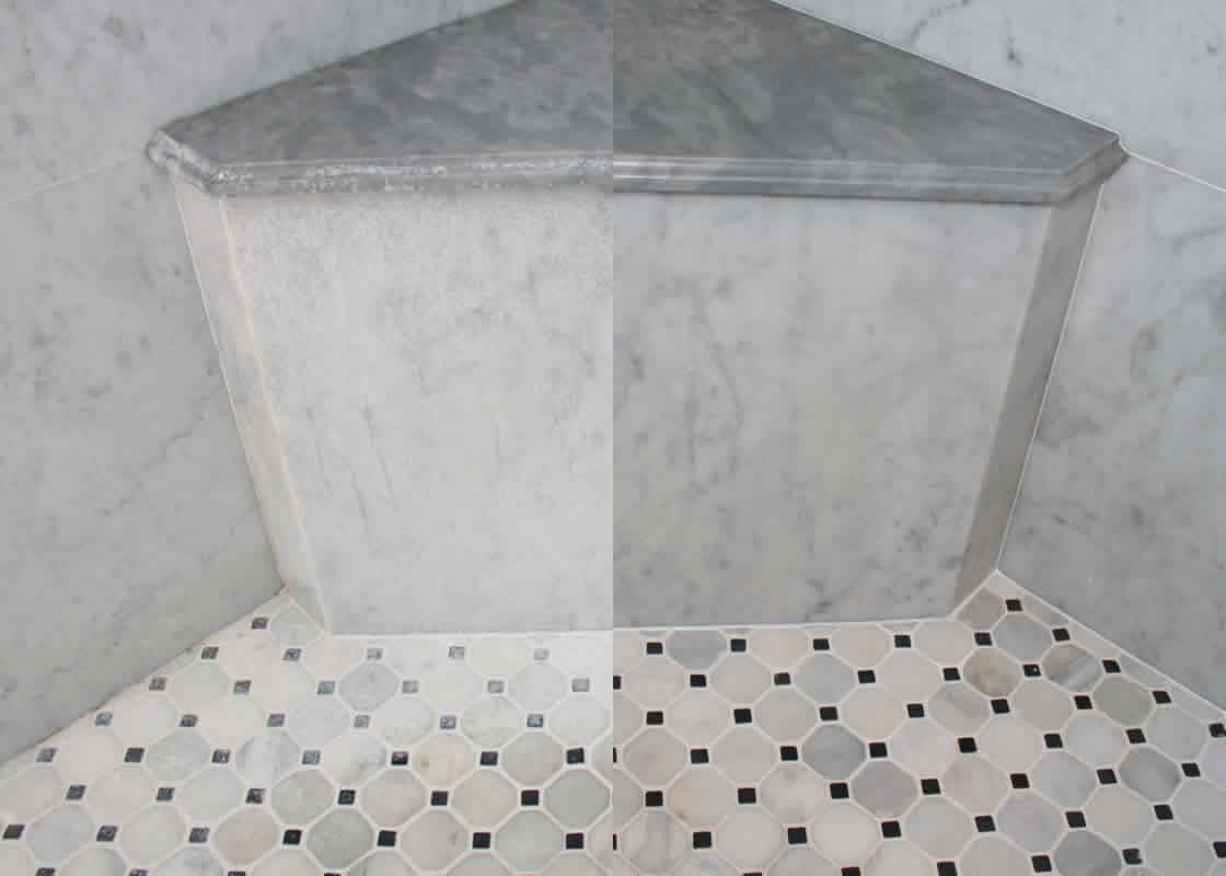 Restoration gallery millestone marble tile for Soap scum on shower floor